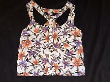 Floral Print Crop Top With Buttons Down The Front Size 8 S/M