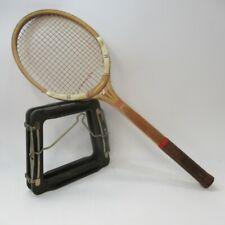 Dunlop Maxply Tennis Racket, Wooden, Leather Grip - Vintage Sporting Goods