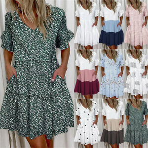 Womens Holiday Boho Summer Dress Sundress Smock Dress Ladies Plus Size Casual UK