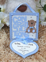 D18 Personalised Christening, Baptism, Naming Day Congratulations Gift Pink Blue