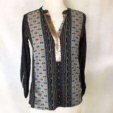 Anthropologie Tiny XS boho print long sleeve top w/ sequin v-neck