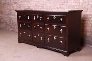 Baker Furniture 18th Century Flemish Style Mahogany Triple Dresser or Credenza
