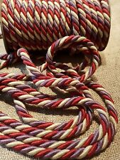 beautiful cotton 3 ply twisted cord in plum..red and gold