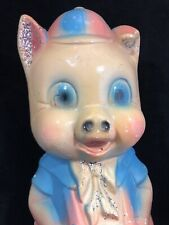 "Vintage Chalkware Porky Pig Bank Huge ""With Coin Inside"" Maybe $20 Gold Piece!"