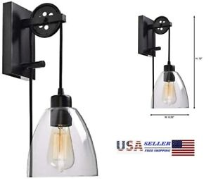 Industrial Pulley 1-Light Clear Glass Plug-in Wall Sconce Home Decorators - NEW