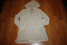NWT Womens FYLO Spark Beige Stripe Hooded Sweater Open Front Shrug Cardigan 2XL