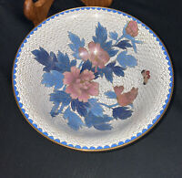 Vintage Chinese Cloisonne Bowl (Large)-White & Blue- 7""