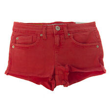 TOPSHOP MOTO Women's Coral Red Denim Hotpants 02Z07A US Size 4 W26 NEW $55