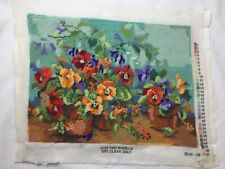 Bucilla Nancy Rossi Pansy Passion Needlepoint 4733 completed Finished
