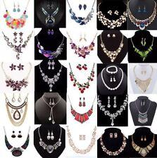 Fashion Crystal Women Bib Chain Pendant Statement Necklace Earrings Jewelry Set