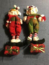 Christmas Elves Holiday Figures (set of 2) by Valerie Parr Hill. ( Plush ) NEW