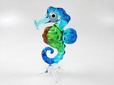 FOLK ART Handicraft MINIATURE HAND BLOWN GLASS Blue Seahorse Marine FIGURINE