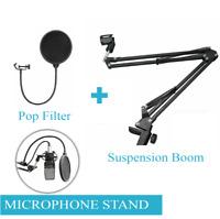 Microphone Suspension Boom + Pop Filter Arm Desktop Stand Mic Holder Mount