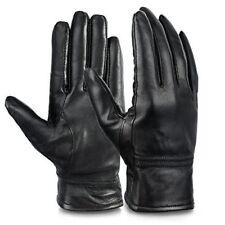 DLT Womens Leather Gloves Winter Gloves Cold Weather Warm Mittens Black (L,