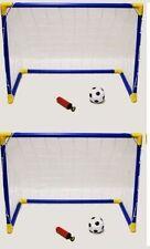 2 x KIDS FOOTBALL SOCCER GOAL palla pompa portatile posti reti Indoor Outdoor Set