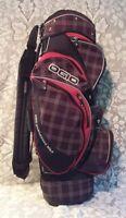 OGIO Woode Red Brown Black Plaid Carry Cart Golf Bag 14 Way Divider Engineered