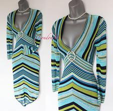 KAREN MILLEN Blue Zig Zag Knitted Crochet 3/4 Sleeves V Neck Jumper Dress 2 UK10