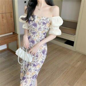 Femme Floral Mousseline Robe Longue Épaule Découverte Qipao Slim Manches Ballons