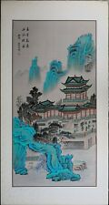 Vintage Chinese Painting, Blue Mountain Landscape, Asian Watercolor on Silk