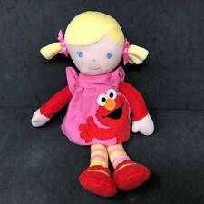 Sesame Street My First Doll Girl Plush Pink Red Elmo Dress Blond Pigtails Hair
