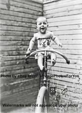 Old Weird/Odd/Strange/Funny/Cute Baby on Antique Bicycle W/ Medals1899 Photo