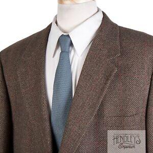 BROOKS BROTHERS Camel Hair Sport Coat 50 L Cedar Brown Barleycorn Red Overcheck