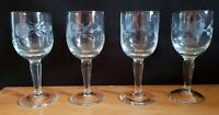 Four Cordial Liqueur Glasses, beautifully etched with Roses
