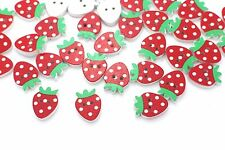 Strawberry Wooden Button Red Polka Dots Wood Baby Children Decorative Coat 20pcs