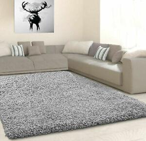 120x170 cm Silver Grey Plain Soft Living Room Shaggy Area Rug Anti-Skid Carpet