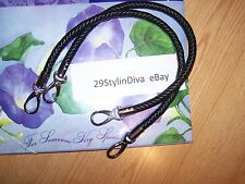 Miche Black Rope Braided Handles Strap w/ silver lobster claw/clip ends NEW