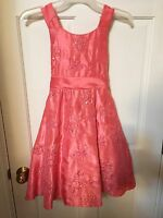RARE EDITIONS Girls Size 8 Coral Special Occasion Dress Nordstrom EUC NWOT CW