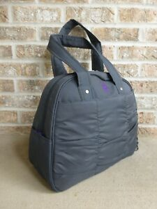Gym Bag Fitness Workout GAIAM Metro Charcoal Gray Purple with Yoga Mat Holder