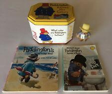 Paddington Bear Collection Paddington Toy Figure Books & Tin Vintage Lot Of 4