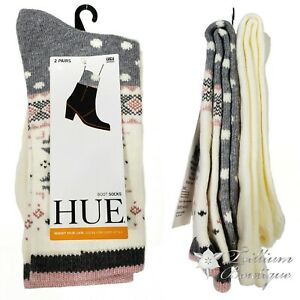 HUE Women's Fairisle Boot Socks 2 Pairs OSFM Acrylic Blend Made in USA NWT