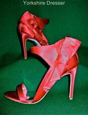 New KAREN MILLEN Uk 6 39 Extravagant RED Satin BOW Evening Sandals Shoes -FJ103
