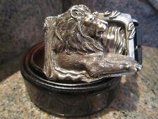 Rare!!! Kieselstein-Cord Sterling Lion Buckle with Black Alligator Belt