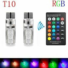 2PCS Remote Control RGB LED Auto Car Interior Wedge Reading Light Strobe Bulbs