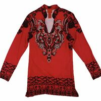 V Cristina Red Black Studded Embellished Neckline Long Sleeve Tunic Top Medium
