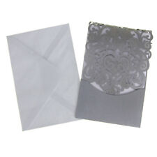 Blank Invitations Rectangle Laser Cut Design, Silver, 7-1/4-Inch, 8-Count