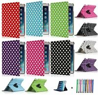 Leather 360 Polka Dot Degree Rotating Case Cover Stand For  APPLE iPad 5  2013