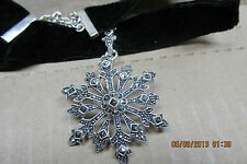 Sterling Silver & Marcasite Snowflake Pendant & Choker  STUNNING PIECE!