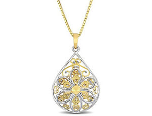 Amour Textured Flower Pendant in 10k Yellow Gold with White Gold Accents