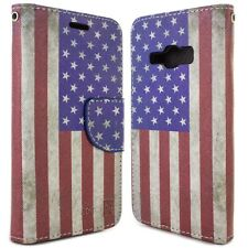 for Samsung Galaxy J1 Ace Wallet Case - USA Flag Design Folio Phone Pouch