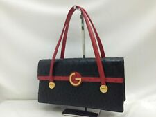 "Authentic GRES  Shoulder Bag Black ostrich 9C150120FKK"""