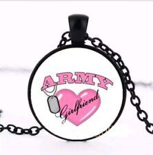 BLACK crystal ARMY GIRLFRIEND LOVE pendant  necklace man woman  FREE $20 GIFT 4U