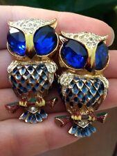 VTG SIGNED CORO STERLING BLUE RHINESTONE ENAMEL OWL DUETTE FUR CLIPS BROOCH/PIN