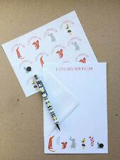 Personnalisé Pour Enfants Papier À Lettres Thank You Écrire Set Stickers Animaux