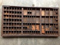 100 plus year old Antique Letterpress Printers TYPE TRAY w/ crystal knob handle