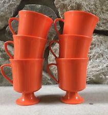Vintage 1960's Heavy Plastic Orange Cups Mugs, Set of 6