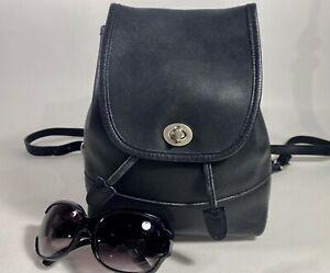 Vintage COACH BLACK Leather Turn Lock Backpack Purse SILVER Hardware 9960